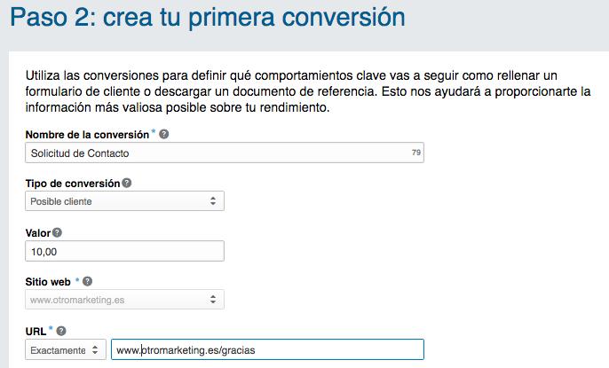 Creación de conversiones en LinkedIn en otromarketing.es