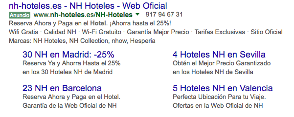 Extensiones de Enlaces de Sitio de Google Adwords de NH Hoteles en otromarketing.es