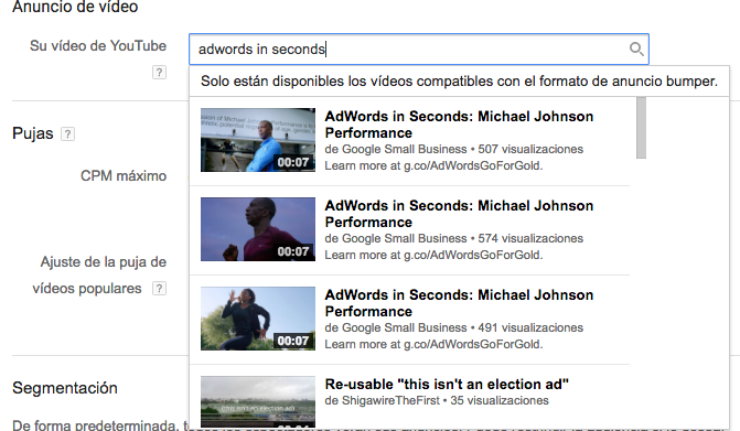 formatos de video en bumper ads