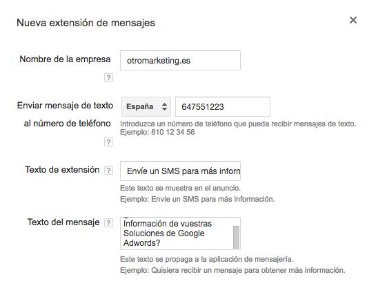 Nuevas Extensiones de Mensajes de Adwords en otromarketing.es