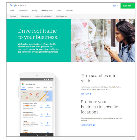 Nuevo sitio Web de Objetivos de Marketing de Google Adwords